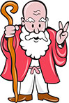 Bearded Old Man Staff Peace Sign Cartoon