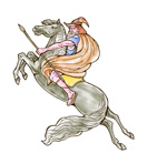 wizard riding a horse with spear