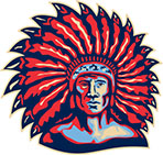 Native American Indian Chief Warrior Retro