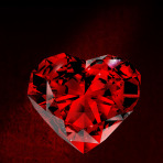 Shiny red diamond on dirt background