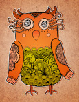 Cute owl on real cardboard background. Lacy bird on paper.