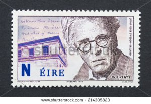 stock-photo-ireland-circa-a-postage-stamp-printed-in-ireland-showing-an-image-of-nobel-literature-prize-214305823