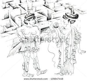 stock-vector-theseus-and-ariadne-against-minotaur-labyrinth-129847448