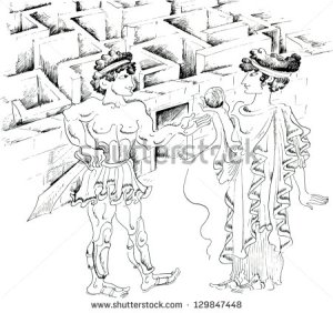 stock-vector-theseus-and-ariadne-against-minotaur-labyrinth-129847448
