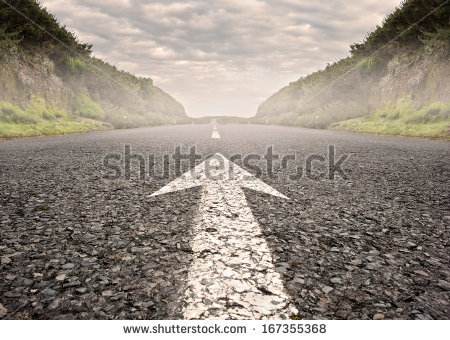 stock-photo-arrow-on-asphalt-road-to-the-horizon-167355368
