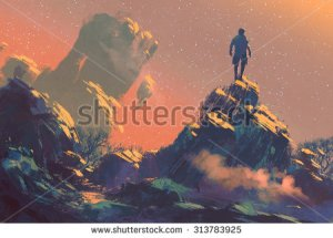stock-photo-man-standing-on-top-of-the-hill-watching-the-stars-illustration-painting-313783925