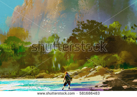 stock-photo-the-castaway-man-standing-on-island-beach-illustration-painting-581686483