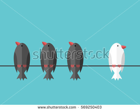 stock-vector-single-white-unique-bird-perching-on-wire-aside-of-many-black-ones-on-blue-sky-background-courage-569250403