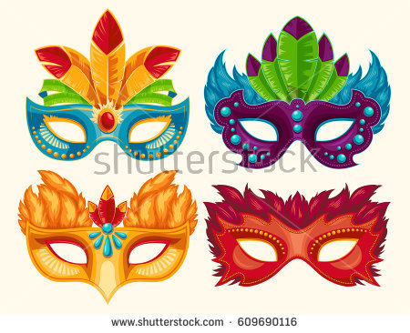 stock-vector-collection-of-cartoon-illustrations-of-venetian-painted-carnival-facial-masks-for-a-party-decorated-609690116