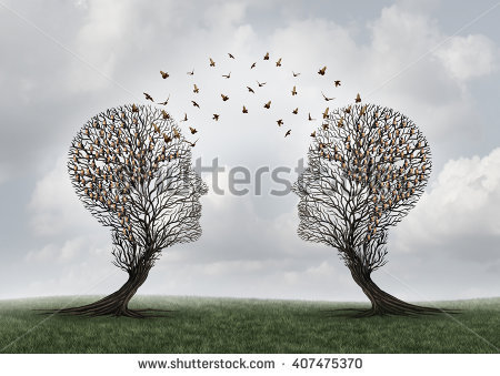 stock-photo-concept-of-communication-and-communicating-a-message-as-two-head-shaped-trees-with-birds-flying-as-407475370